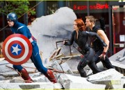 "Scarlett Johansson, Jeremy Renner, and Chris Evans film an action scene for ""The Avengers"" in NYC."